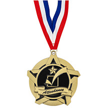 "School Medals - 2 1/4"" Attendance Academic Star Medal with 30 in. Neck Ribbon"