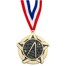 "2 1/4"" Math Academic Star Medal with 30 in. Neck Ribbon"