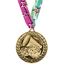 """Cheer Medal - Large 2 3/4"""" Achievement Wreath Medal with Ribbon"""
