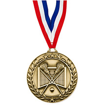 "Lacrosse Medal - Small 1 3/4"" Achievement Wreath Medal with Ribbon"