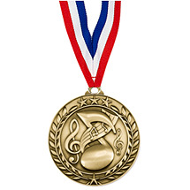 """Music Medal - Small 1 3/4"""" Achievement Wreath Medal with Ribbon"""