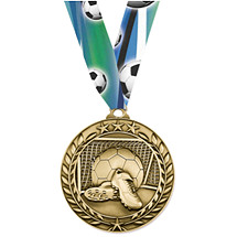 "Soccer Medal - Large 2 3/4"" Achievement Wreath Medal with Ribbon"