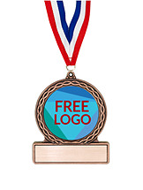 "2 3/4"" Free Color Logo Emblem Medal with Neck Ribbon"