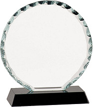 "5 - 7"" Round Clear Glass Award with Black Acrylic Base"