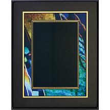 "8 x 10 - 9 x 12"" Shades of Blue/Green Swirl Art Plaque"