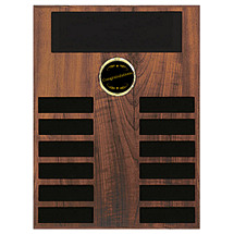 "12 x 15"" Perpetual Plaque w/Emblem and 12 Black Brass Ind. Plates"