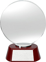 "DINN DEAL! 4 1/2 x 7 1/2"" Round Glass Award"