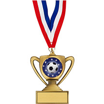 "Soccer Medal - 2 3/4"" Trophy-Shape Soccer Medal with 30"" Red, White and Blue Neck Ribbon"