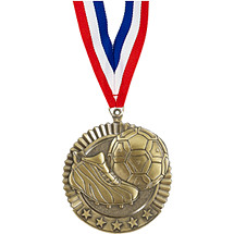 "Soccer Medal - 2 3/4"" Soccer Star Medal with Ribbon"