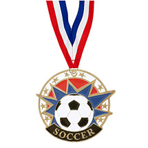"Soccer Medal - 2"" Colorful Soccer Medal with Neck Ribbon"