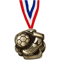 "Soccer Medals - 2 1/4"" Antique Gold Soccer Medal with Neck Ribbon"