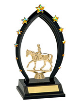 "9 1/2"" Recognition Trophy with Curved Black Acrylic Arch"