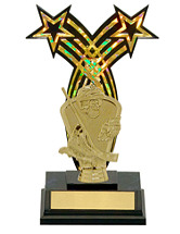 "8 1/4"" Black Acrylic Star Trophy with Figure"