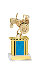 Holographic Blue Trophy with Rectangular Column - 9""