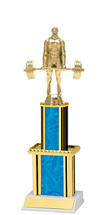 Holographic Blue Trophy with Twin Column - 12""