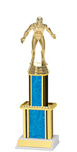 """Holographi Blue Trophy with Twin Column - 12"""""""
