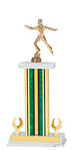 "14-16"" Green and Gold Trophy with 2 Eagle Rectangular Base"