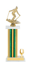 "13-15"" Green and Gold Trophy with Rectangular Column and One-Eagle Base"