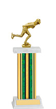 "12-14"" Green and Gold Trophy with Rectangular Column"