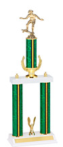 "18-20"" Green and Gold Trophy with Double Column Base"