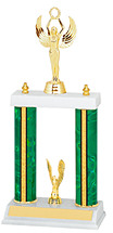 "13-15"" Green and Gold Trophy with Double Column Base"