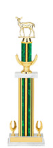 "19-21"" Green and Gold Trophy with Rectangular and Round Column Base"