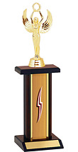 "12-14"" Oak and Walnut Trophy with Rectangular Column"