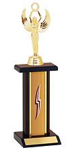 "12-14"" Oak and Walnut Trophy with Rectangular Column"
