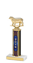"10-12"" 2016 Round Column Dated Gold Trophy"