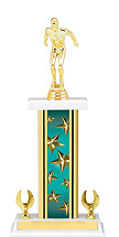"14-16"" Rectangular Teal Star Trophy with 2 Eagle Base"