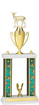 """18-20"""" Teal Star Trophy with Double Column Base and Gold Cup"""
