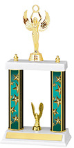 "13-15"" Teal Star Trophy with Double Column Base"