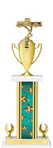 "19-21"" Rectangular Teal Star Trophy with 2 Eagle Base and Gold Cup"