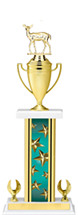 """19-21"""" Rectangular Teal Star Trophy with 2 Eagle Base and Gold Cup"""