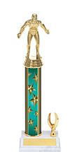 """11-13"""" Teal Star Trophy with 1 Eagle Base"""