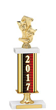 2017 Gold Dated Trophy with Rectangular Column - 14-16""
