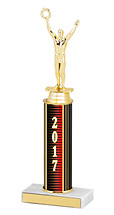"10-12"" 2017 Round Column Dated Gold Trophy"