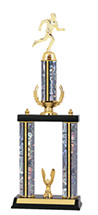 "19-21"" Holographic Silver Trophy with Wreath Riser and Top Column"