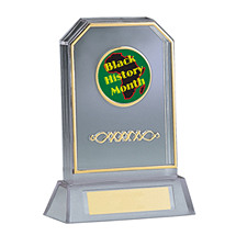 "6 3/4"" Holographic Clear Acrylic Trophy"