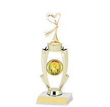 "13 1/2"" Gold Frame Trophy w/Emblem and Figure"