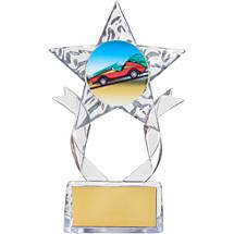 """7 1/2"""" Clear Acrylic Star Emblem Trophy"""