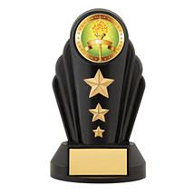 "7"" Silhouette Black Acrylic Triple Star Trophy"