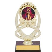 """7"""" Gold Oval Star Emblem Trophy"""