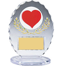 "5 1/4"" Silhouette Clear Oval Acrylic Trophy"