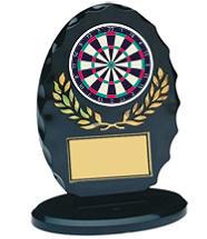 "5 1/4"" Silhouette Black Oval Acrylic Trophy"