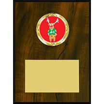 "4 x 6 - 5 x 7"" Walnut-tone Plaque with a Modern Emblem Holder"