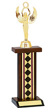 "12-14"" Diamond Walnut-Tone Trophy with Rectangular Column"