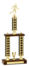 "20-22"" Diamond Walnut-Tone Trophy - Double Column Base"