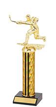 "10-12"" Holographic Black & Gold Round Column Trophy"