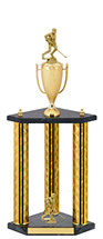 "25"" Holographic Black & Gold Trophy with Cup and 2 Figures"